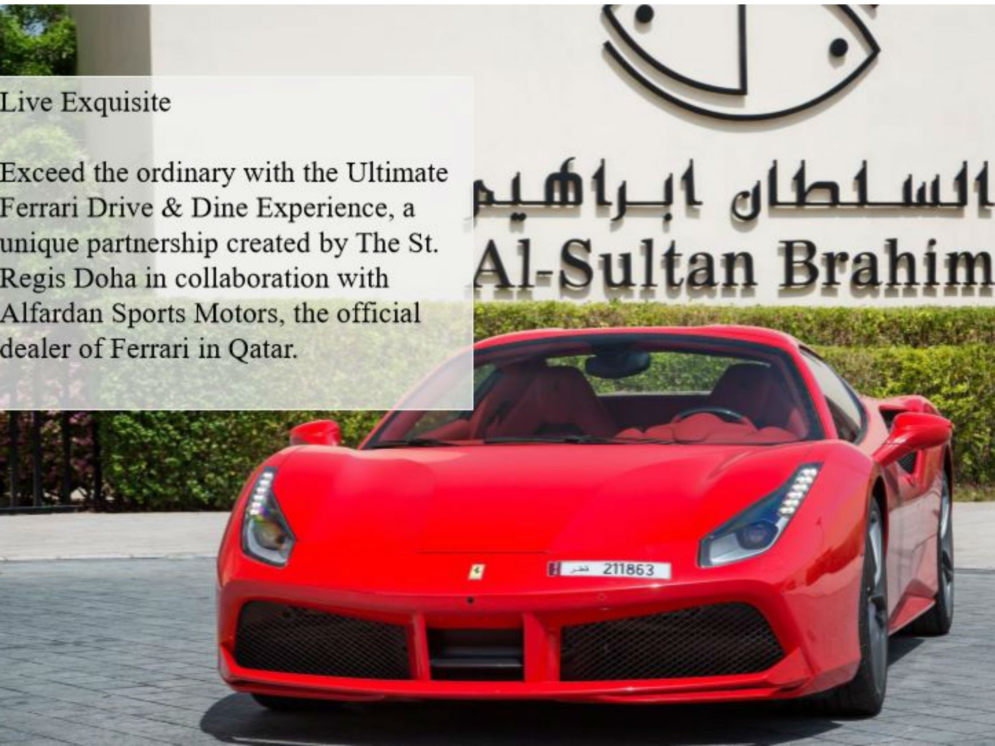 Test drive a Ferrari 458 or GTC4Lusso with the St. Regis Doha Ultimate Ferrari Drive & Dine experience
